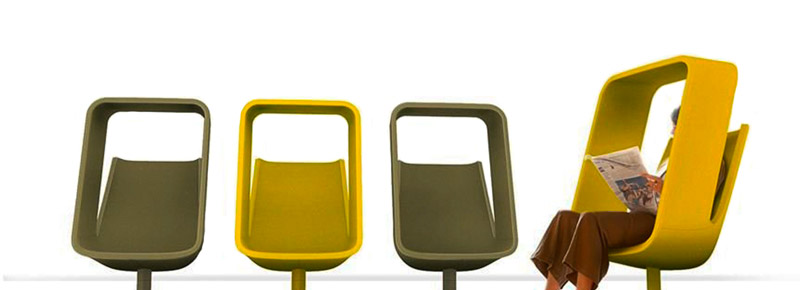 Side by side yellow and green Windowseat chairs designed by Mike and Maaike