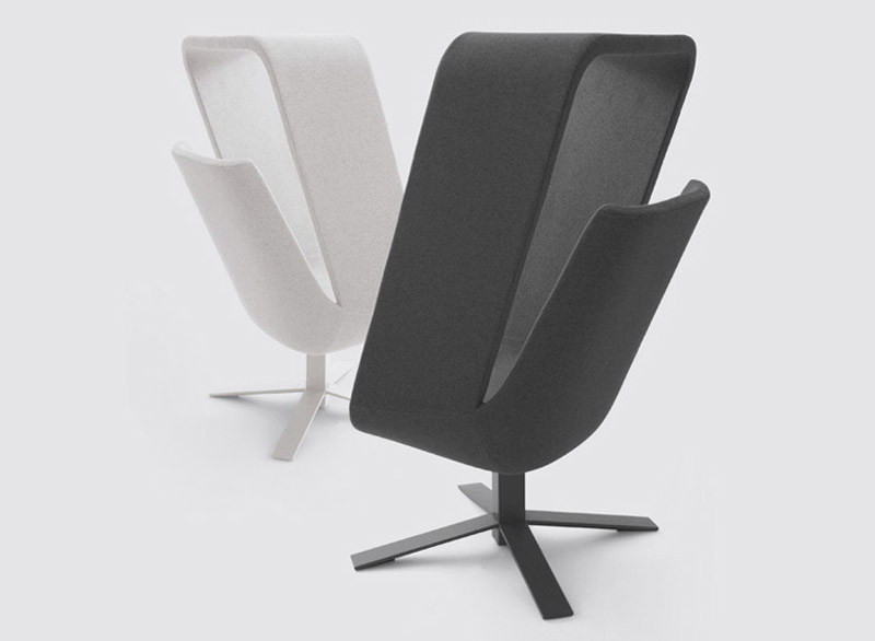 Gray and white Windowseat lounge chairs designed by Mike and Maaike