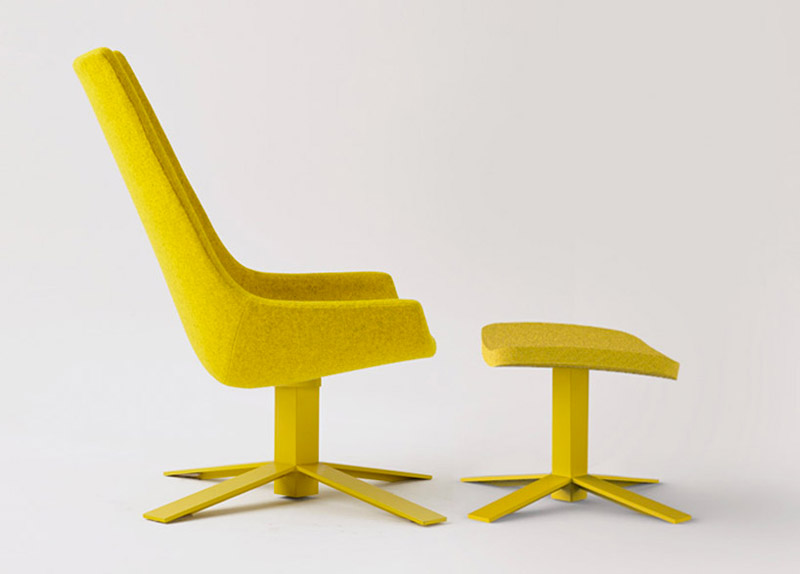 Yellow Windowseat and ottoman designed by Mike and Maaike