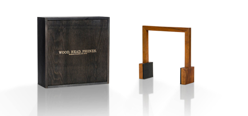 Square wood head phones with wooden box