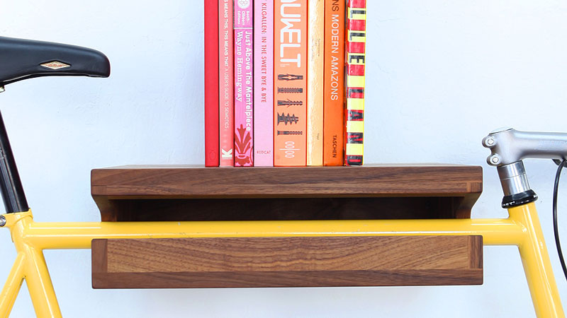 Wooden bicycle and book shelf by knife saw Bicycle bookshelf