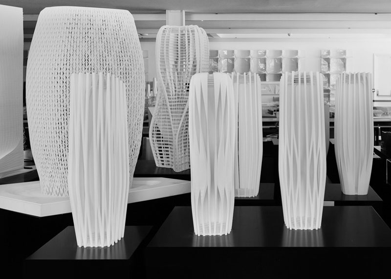 architectural pieces in Zaha Hadid Gallery in London
