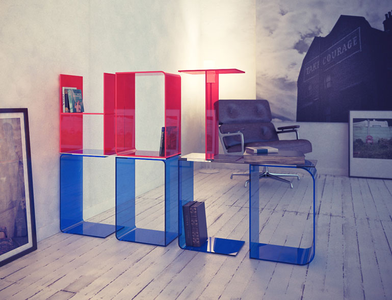 Blue & Red ANITA Letter Floor Shelves by Quattria