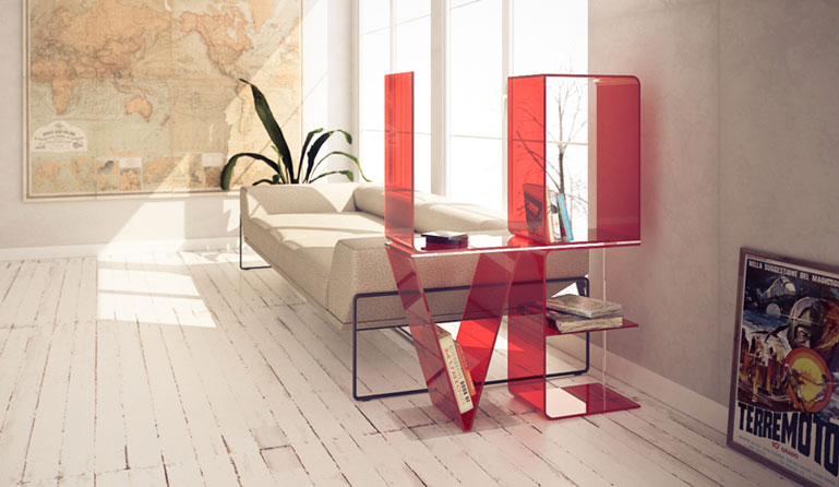 Red ANITA Letter Floor Shelves by Quattria
