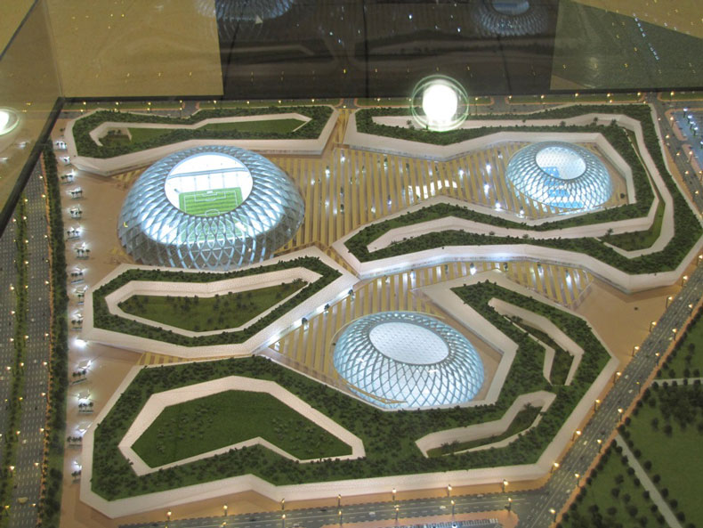 Aerial view of the Al Wakrah World Cup Stadium by Zaha Hadid Architects