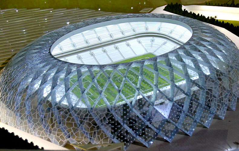 View of the roof at the Al Wakrah World Cup Stadium by Zaha Hadid Architects