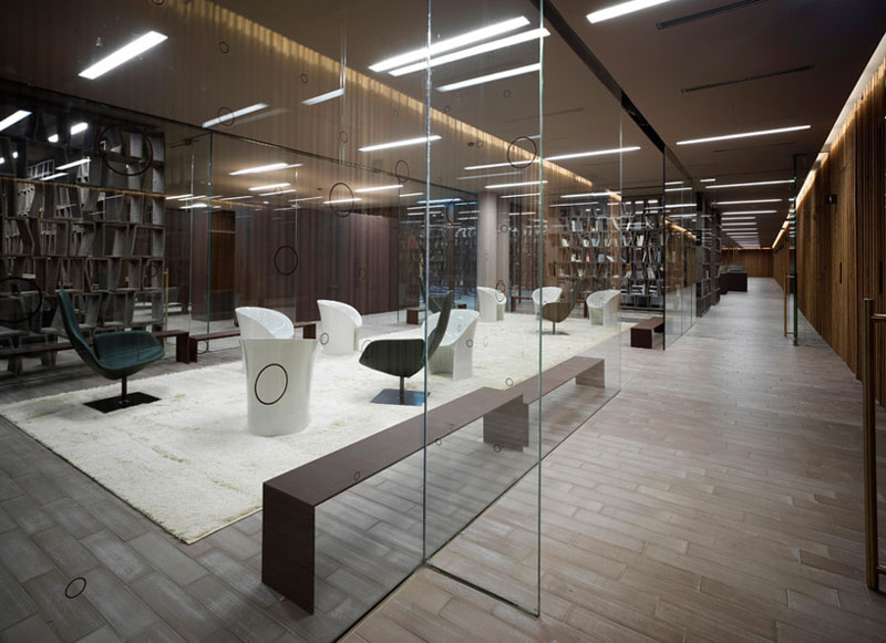 Library area at the Antinori Winery by Archea Associati