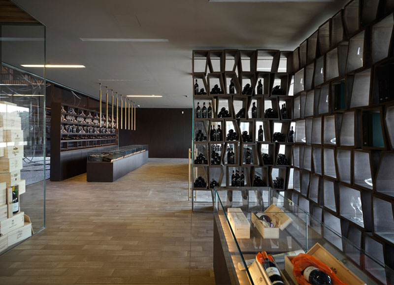 Wine tasting area and shop at the Antinori Winery by Archea Associati