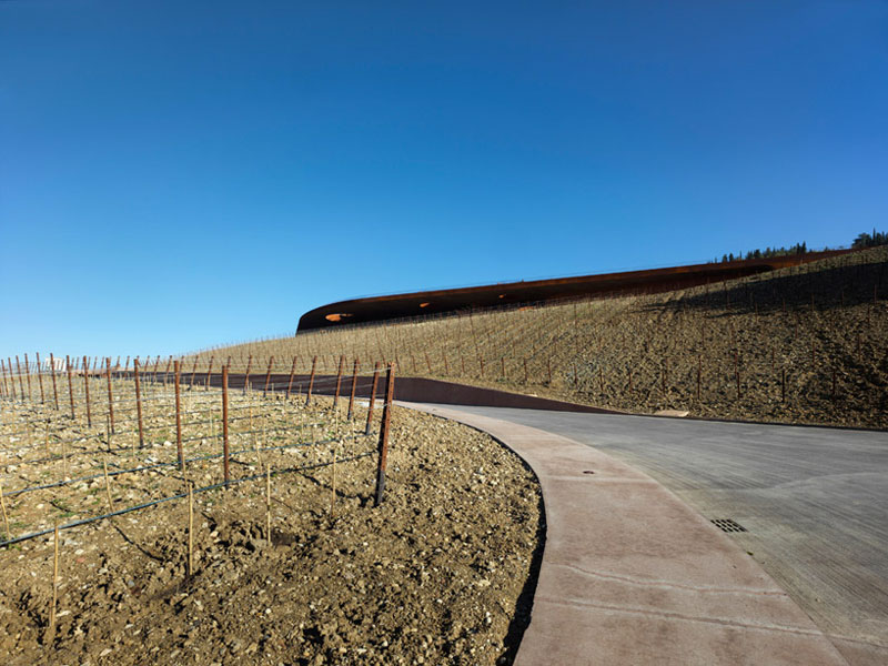 Exterior view of the winery at the Antinori Winery by Archea Associati