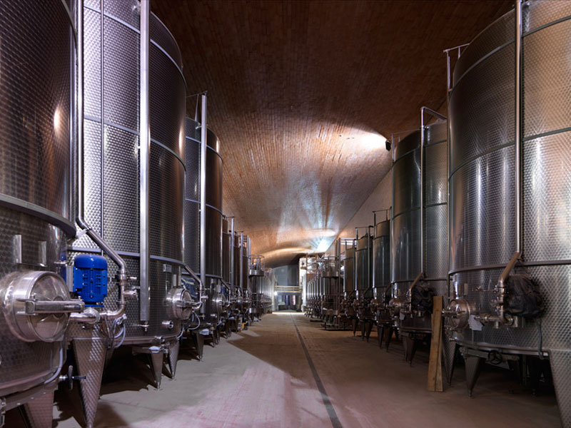 Fermentation room at the Antinori Winery by Archea Associati
