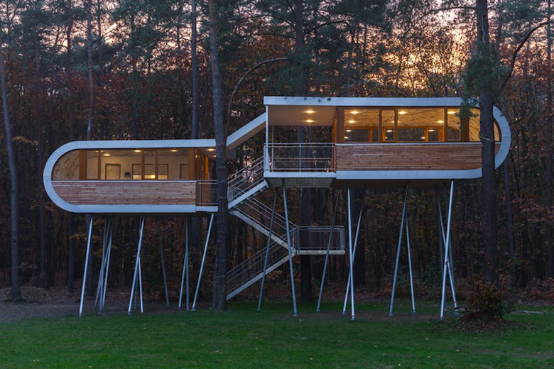 Exterior architecture of Baumraum's Treehouse Retreat
