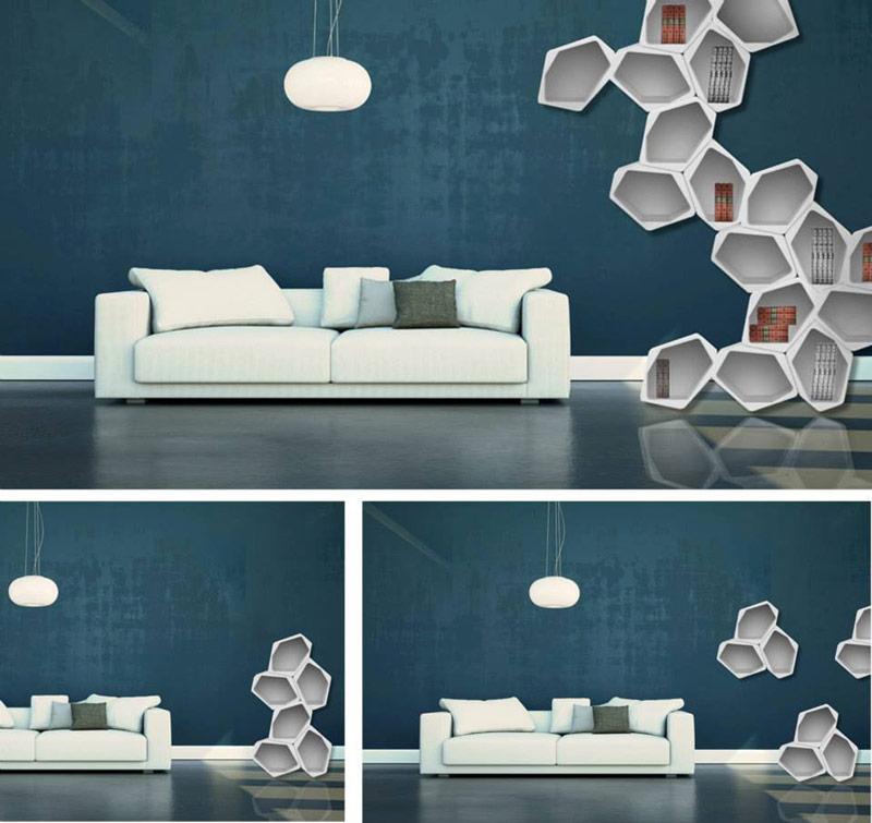 BUILD Modular Shelving by Movisi in the living room on the wall