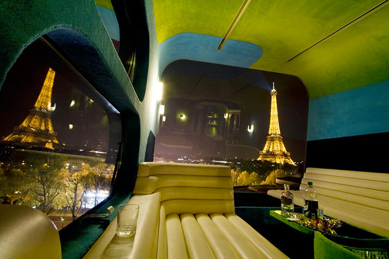 Interior design of the lounge area at the Everland Hotel in Paris