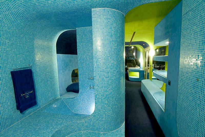 Interior design of the bathroom at the Everland Hotel in Paris