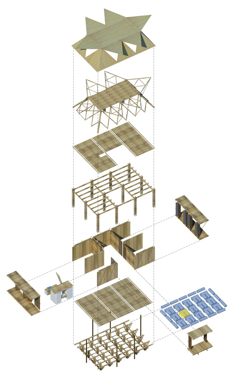 Material and parts used in the 6 person Floating Bamboo Low Cost Houses in Vietnam by H & P Architects