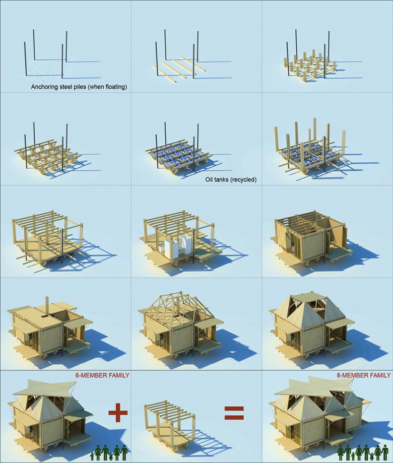 Floating Bamboo Low Cost Houses By H P Architects