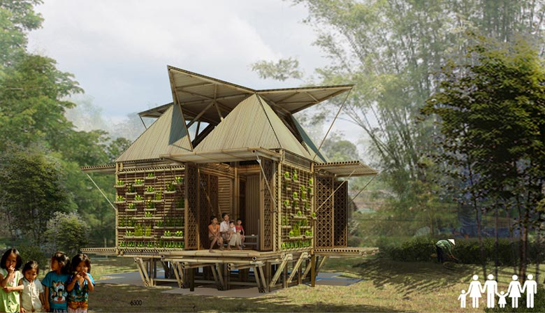 6 person Floating Bamboo Low Cost Houses in Vietnam by H & P Architects