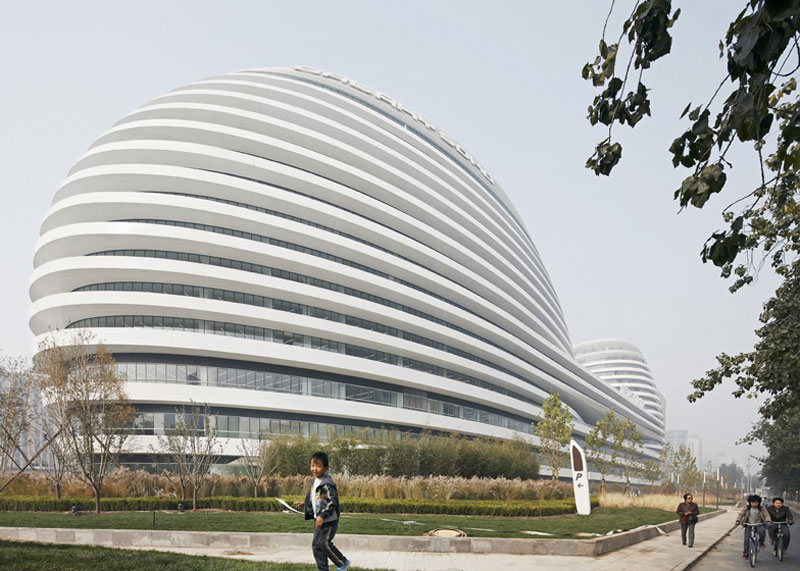 Exterior view of the architecture at the Galaxy SOHO Complex in Beijing designed by Zaha Hadid