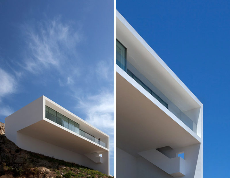 2 images of the front architecture of the House on the Cliff by Fran Silvestre Arquitectos