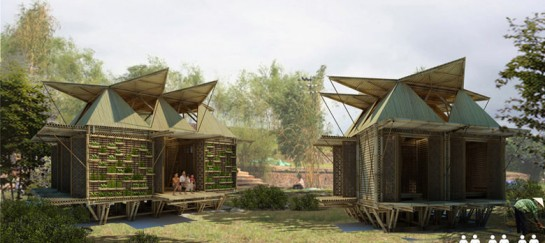 Floating Bamboo Low Cost Houses by H & P Architects