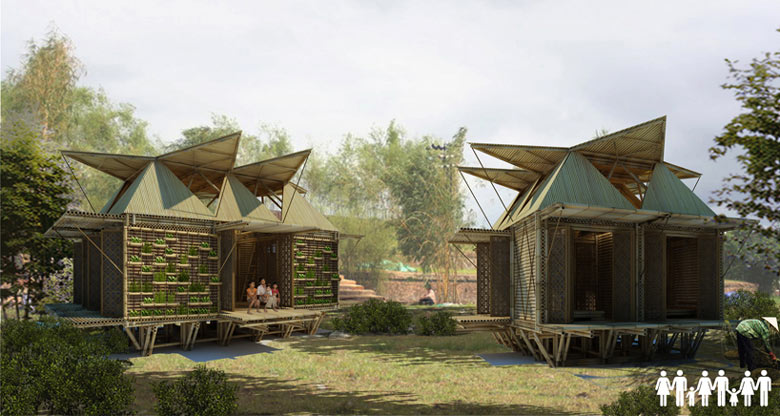 Jebiga Floating Bamboo Low Cost Houses in Vietnam by H & P Architects