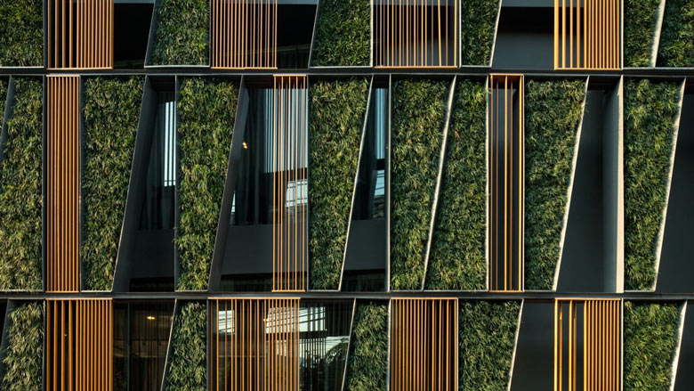 Exterior green wall at the Vertical Living Gallery by Sansiri and Shma in Bangkok