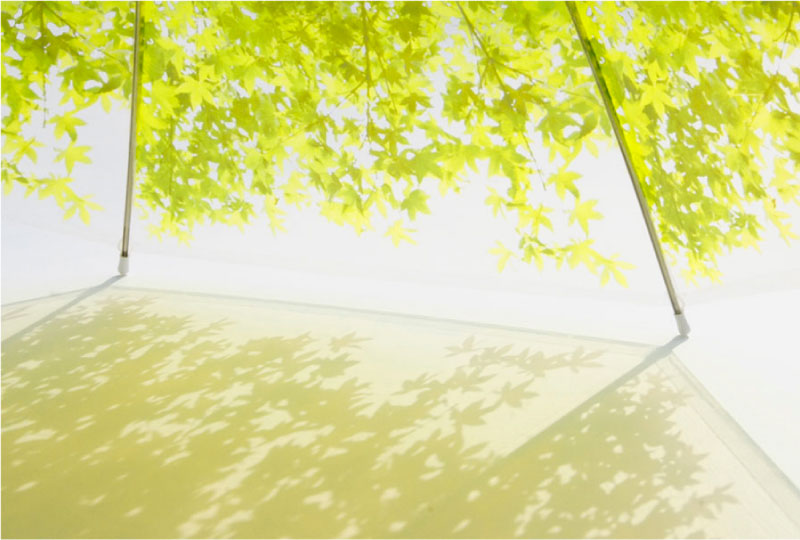 Tree shade produced from the Komorebiagasa Tree Shade Umbrella by Design Complicity