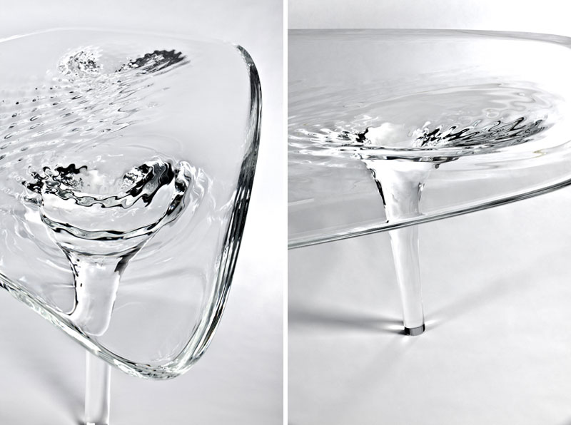 Closeup view of the Liquid Glacial Table designed by Zaha Hadid