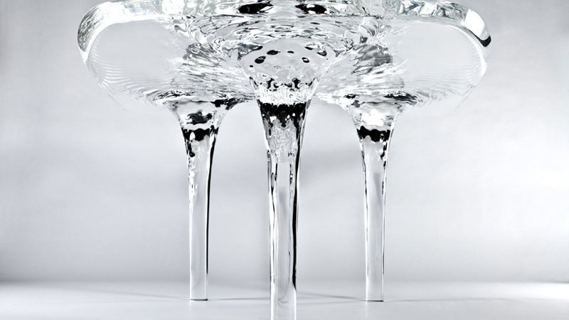 Profile view of the Liquid Glacial Table designed by Zaha Hadid