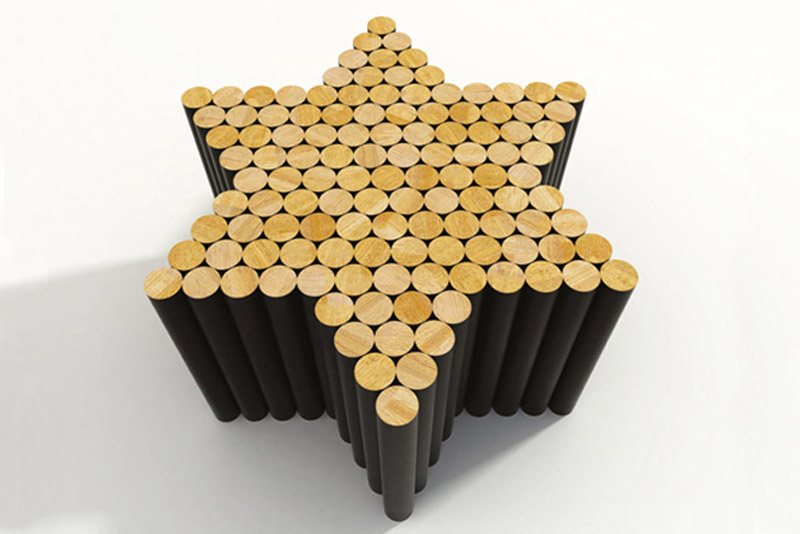 Star shaped Multiple magnetic coffee table by Raphael Charles