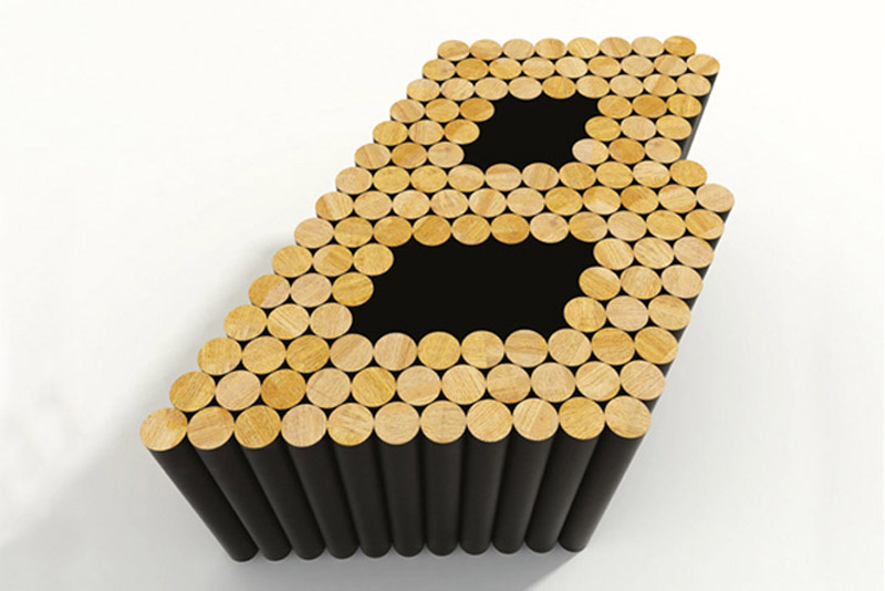 """Letter """"B"""" shaped Multiple magnetic coffee table by Raphael Charles"""