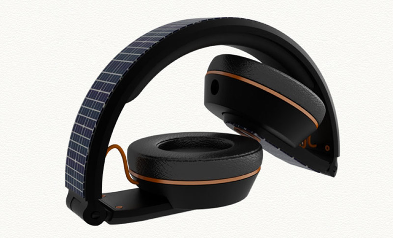 Folded position of the OnBeat solar powered headphones