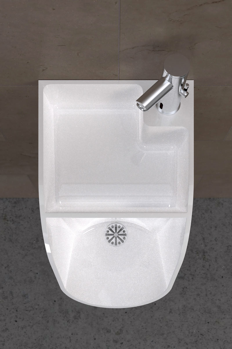 Top view of a white sink urinal by TANDEM in a men's restroom