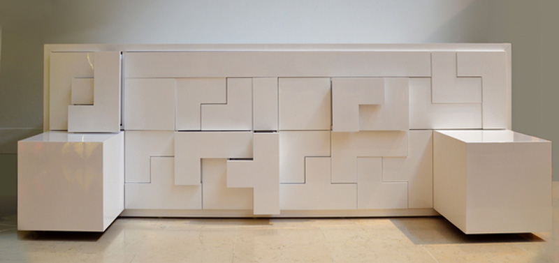 Tetris Pieces Sticking Out Of The White Tatris Furniture By Pedro Machado