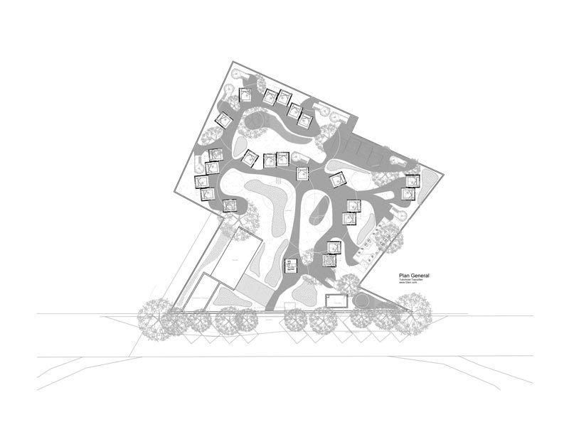 Layout of the area at the Tubo Hotel in Tepoztlan Mexico by T3arc