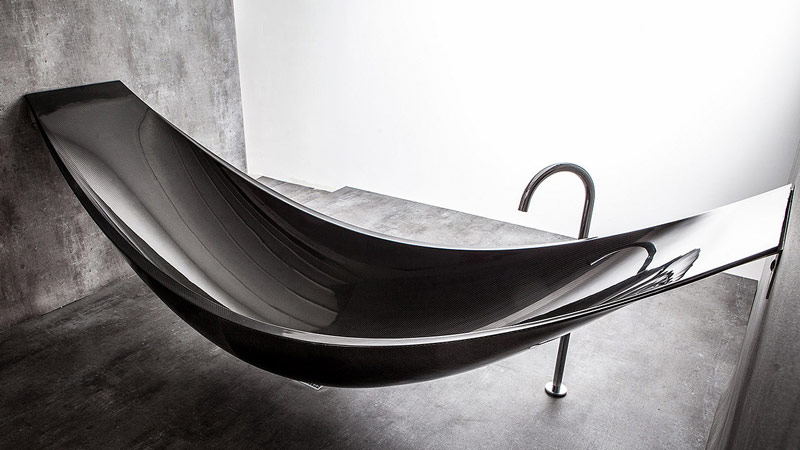 View from top of the Vessel Hammock Bathtub by Splinter Works