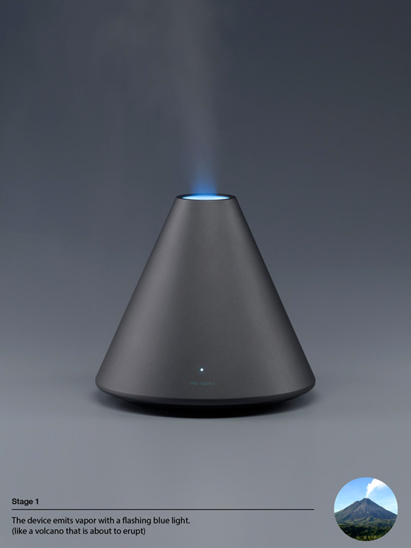Black Volcano Humidifier with blue light by Hun-jung Choi and Dae-hoo Kim from Coway
