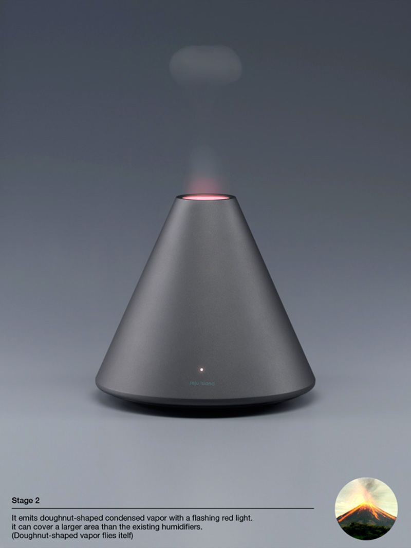 Black Volcano Humidifier with red light by Hun-jung Choi and Dae-hoo Kim from Coway