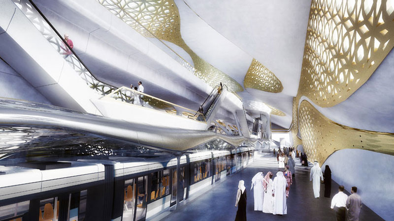 Interior view of the walkway and stairways at the King Abdullah Financial District metro station in Riyadh designed by Zaha Hadid Architects