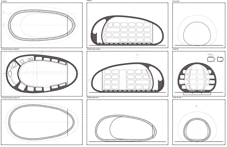 Architectural plans of the blob VB3 Mobile Living Pod by dmvA Architects