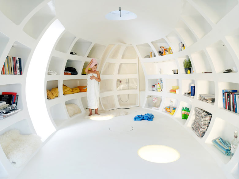 Interior design of the blob VB3 Mobile Living Pod by dmvA Architects