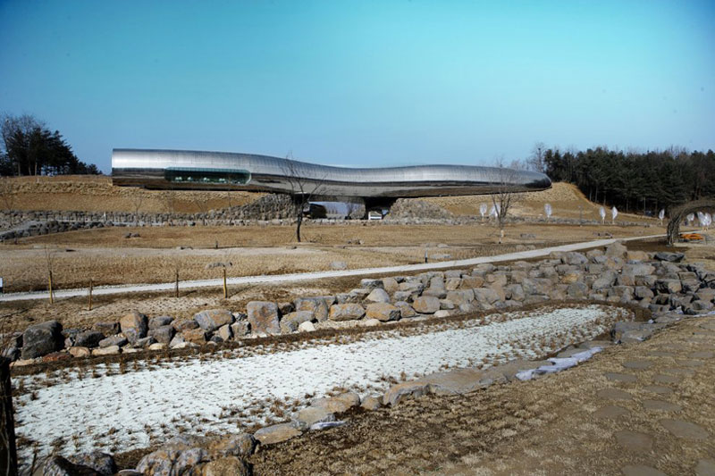 Exterior view of the Jeongok Museum South Korea Prehistory Museum by X-TU Architects