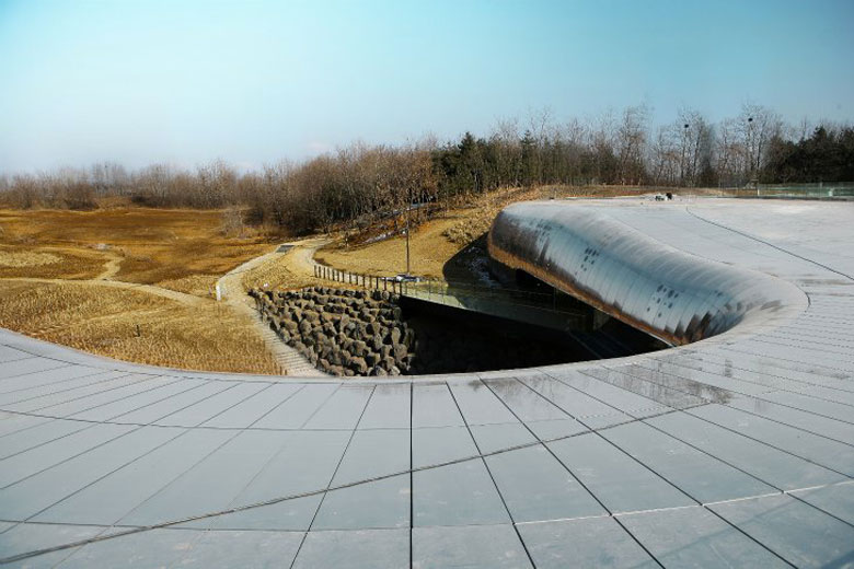 Roof of the Jeongok Museum South Korea Prehistory Museum by X-TU Architects