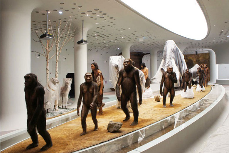 Prehistoric men and women at the Jeongok Museum South Korea Prehistory Museum by X-TU Architects