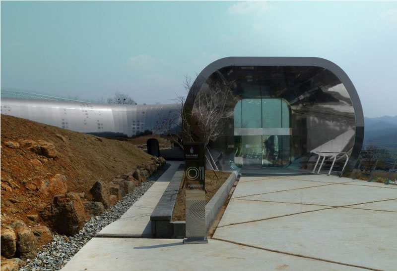 Entrance of the Jeongok Museum South Korea Prehistory Museum by X-TU Architects