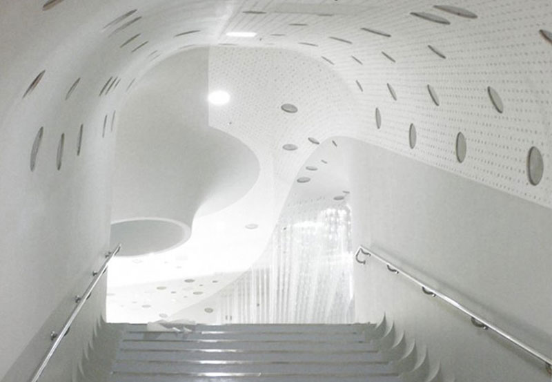 Stairs and white walls at the Jeongok Museum South Korea Prehistory Museum by X-TU Architects