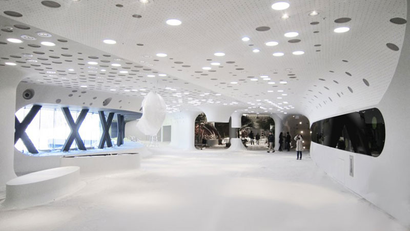 White floors and ceiling at the Jeongok Museum South Korea Prehistory Museum by X-TU Architects