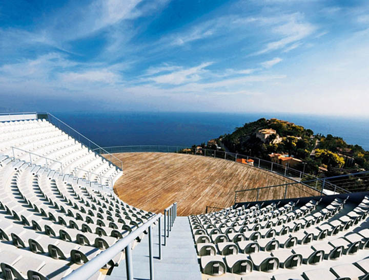 Amphitheatre at the palais bulles, palace of bubbles Pierre Cardin house by antti lovag in Cannes