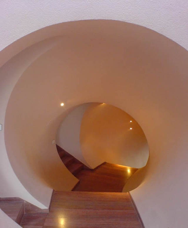 Interior design at the palais bulles, palace of bubbles Pierre Cardin house by antti lovag in Cannes