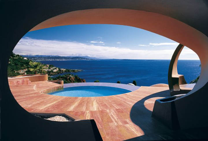 Swimming pool and view of the ocean at the palais bulles, palace of bubbles Pierre Cardin house by antti lovag in Cannes